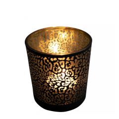 Tea light holder glass jaguar pattern matt black medium