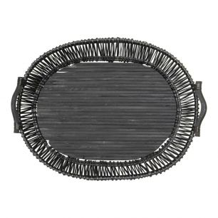 Tray willows black oval large