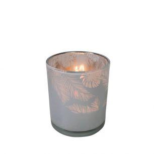 Tea light holder glass jungle milk white 8cm