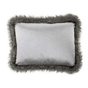 Cushion velvet/fur silver 45x35cm