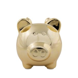 Money bank pig wings gold medium