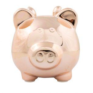 Money bank pig wings rosé gold large