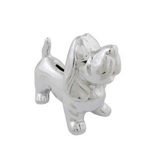 Money bank dachshund silver small