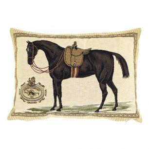 Gobelin cushion horse saddle brown 30x45cm