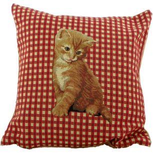 Gobelin cushion checked cat red 33x33cm