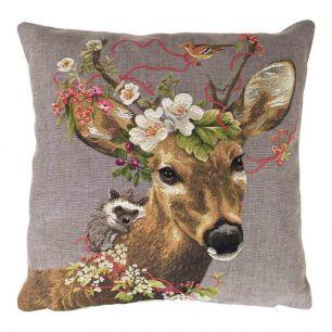 Gobelin cushion flowers small roebuck 45x45cm
