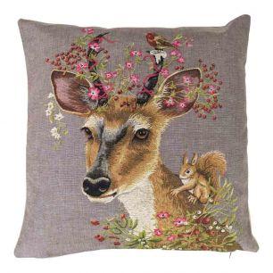Gobelin cushion flowers roe 45x45cm