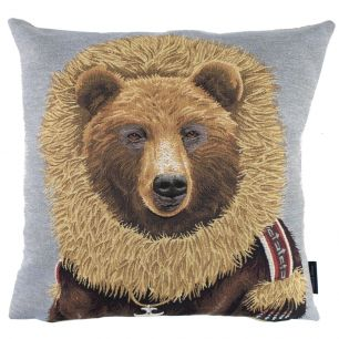 Gobelin cushion coat brown bear 45x45cm