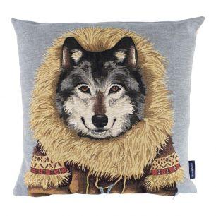 Gobelin cushion coat wolf 45x45cm