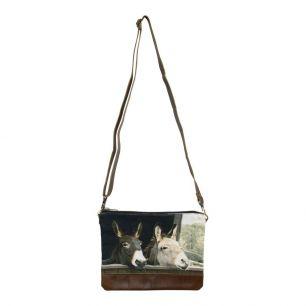 Canvas crossbody bag rectangle 2 donkeys