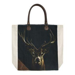 Canvas shopper black red deer