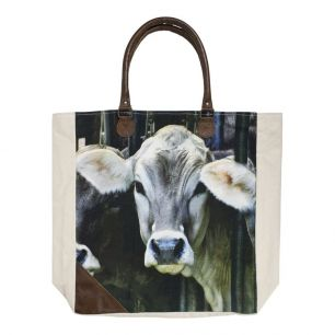 Canvas shopper swiss calf