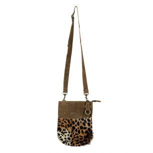 Crossbody bag round brown leopard (bos taurus taurus)