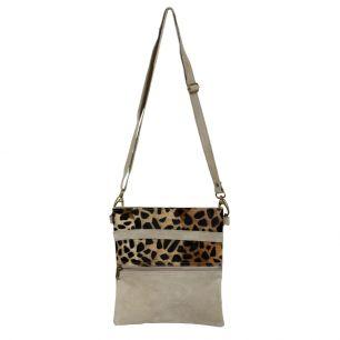 Crossbody bag vertical beige panther (bos taurus taurus)
