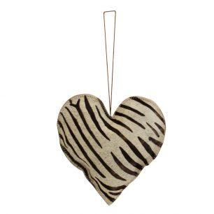 Hanging decoration zebra heart large 20cm (bos taurus taurus)