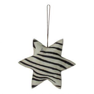 Hanging decoration zebra star large 20cm (bos taurus taurus)