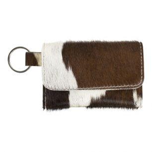 Key chain pouch brown/white (bos taurus taurus)
