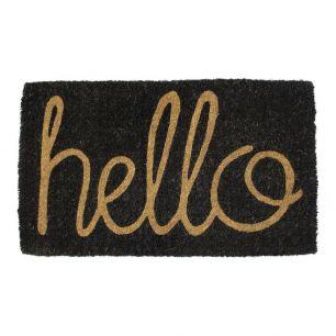 Coir doormat handmade hello black