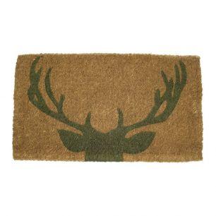 Coir doormat handmade deer green