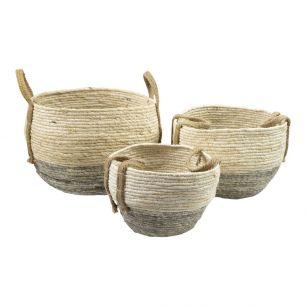Basket naturel grey (set of3)