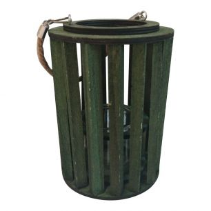 Lantern wood vertical grass ø8cm