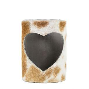 Lantern cow heart brown/white 20cm (bos taurus taurus)