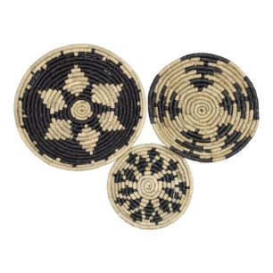 Seagrass wall basket black (set of 3)