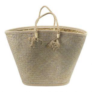 Palm leaf bag white tassels