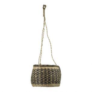 Seagrass hanging flowerpot black 20cm