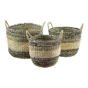 Seagrass basket black stripe (set of 3)