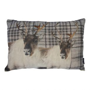 Big cushion velvet checkered reindeer grey 40x60cm