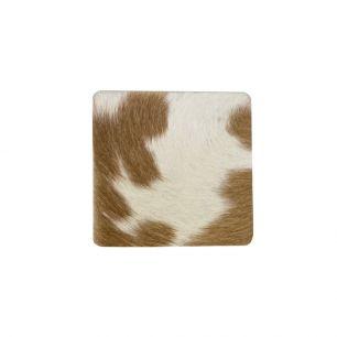 Coaster cow hide square brown/white 9x9cm (bos taurus taurus)