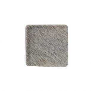 Coaster cow hide square grey 9x9cm (bos taurus taurus)