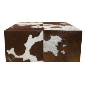 Pouffe cow red brown 80x80x35cm (ex transport) (bos taurus taurus)