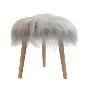 Stool round fur sheep dia 36cm light grey (ovis aries)