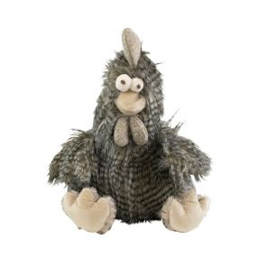 Cuddly toy long hair rooster grey 21cm