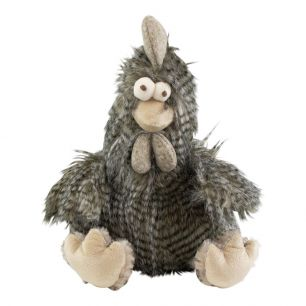 Cuddly toy long hair rooster grey 29cm