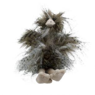 Cuddly toy long hair ostrich 18cm