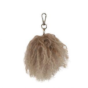 Key chain pom pom sheep curly hair beige
