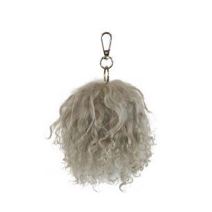 Key chain pom pom sheep curly hair grey