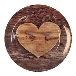 Plate wooden heart 27cm