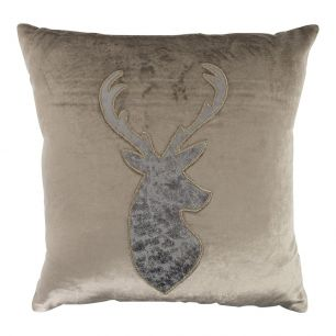 Cushion velvet taupe deer 40x40cm
