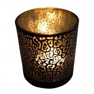 Tea light holder glass jaguar pattern matt black large