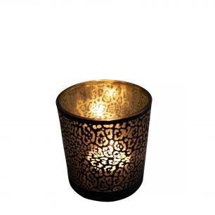 Tea light holder glass jaguar pattern matt black small